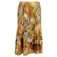 Overstock Skirts - Satin Mini Pleat Tiered Skirt - Gold Print