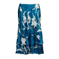 Overstock Skirts - Satin Mini Pleat Tiered Skirt - White Tulips on Teal