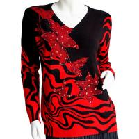 Cotton Feel Slinky Tops - Beaded Long Sleeve - SWLM 1648 Red