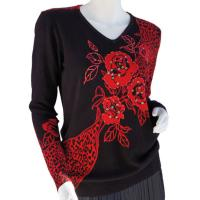 Cotton Feel Slinky Tops - Beaded Long Sleeve - SWLM 1295 Red