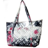 Quilted Bags - Large Tote - White-Black-Pink Floral