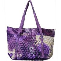 Quilted Bags - Large Tote - Rose Floral - Purple