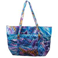 Quilted Bags - Large Tote - Abstract Paint Splatter - Blue