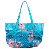 Quilted Bags - Large Tote - Butterfly Floral on Sky Blue