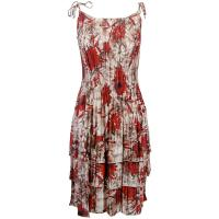 Satin Mini Pleats - Spaghetti Dress - Crimson-Taupe Floral