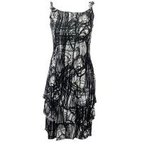 Satin Mini Pleats - Spaghetti Dress - Graffiti - Black-White
