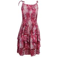 Satin Mini Pleats - Spaghetti Dress - Leopard Print - Wine