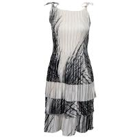 Satin Mini Pleats - Spaghetti Dress - Lines - Black on White
