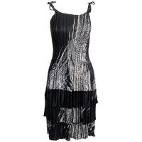 Satin Mini Pleats - Spaghetti Dress - Lines - White on Black