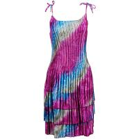 Satin Mini Pleats - Spaghetti Dress - Magenta-Silver Diagonal