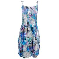 Satin Mini Pleats - Spaghetti Dress - Paint Splatter Aqua-Purple