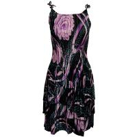 Satin Mini Pleats - Spaghetti Dress - Abstract Floral Purple-Rose