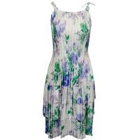 Satin Mini Pleats - Spaghetti Dress - Small Purple Floral on White