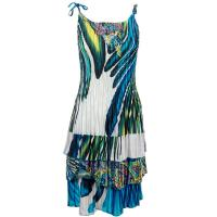Satin Mini Pleats - Spaghetti Dress - Swirl Turquoise-White