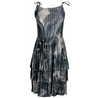 Satin Mini Pleats - Spaghetti Dress - Silver Abstract