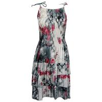 Satin Mini Pleats - Spaghetti Dress - White-Black-Pink Floral