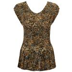 Georgette Mini Pleat Cap Sleeve V-Neck - Leopard