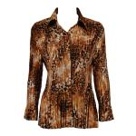 Satin Mini Pleats Blouse - Golden Leopard