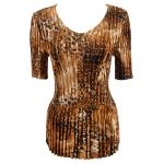 Satin Mini Pleats Half Sleeve V-Neck - Golden Leopard