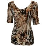 Satin Mini Pleats Half Sleeve V-Neck - Bronze Leopard