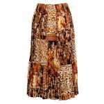 Satin Micro Pleat Calf Length Skirt - Multi Animal Floral