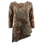 Magic Slinky Asymmetric Tunic - Animal Print with Brown and Gold Accent