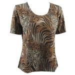 Magic Slinky Short Sleeve - Animal Print with Brown and Gold Accent