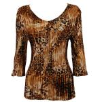 Satin Mini Pleats Three Quarter V-Neck - Golden Leopard