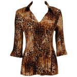 Satin Mini Pleats Three Quarter w/ Collar - Golden Leopard