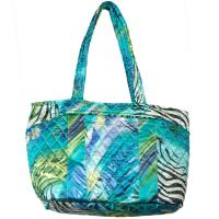 Quilted Bags - Small Tote - Abstract Zebra Blue-Green