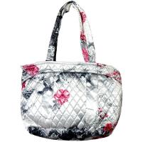 Quilted Bags - Small Tote - White-Black-Pink Floral