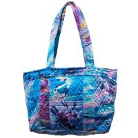 Quilted Bags - Small Tote - Abstract Paint Splatter - Blue