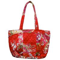 Quilted Bags - Small Tote - Raspberry Floral on Red