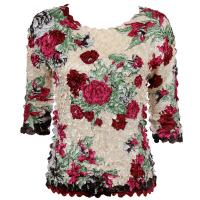 Satin Origami Petal Shirts - Three Quarter Sleeve - Ivory-Burgundy Floral