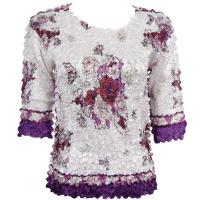 Satin Origami Petal Shirts - Three Quarter Sleeve - White-Purple Bouquet
