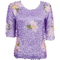 Satin Origami Petal Shirts - Three Quarter Sleeve - Variegated Violet