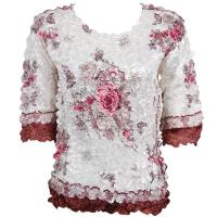Satin Origami Petal Shirts - Three Quarter Sleeve - Ivory-Maroon Floral