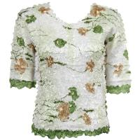 Satin Origami Petal Shirts - Three Quarter Sleeve - White, Green, & Brown Floral