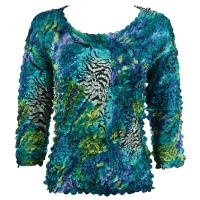 Satin Origami Petal Shirts - Three Quarter Sleeve - Abstract Zebra Blue-Green