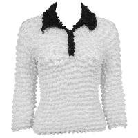 Gourmet Popcorn - 3/4 3 Button Contrast Collar - White-Black
