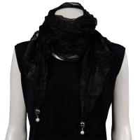 Scarves - Sheer with Hanging Pendants 1214 - Black