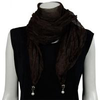 Scarves - Sheer with Hanging Pendants 1214 - Brown