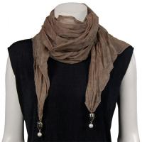 Scarves - Sheer with Hanging Pendants 1214 - Taupe