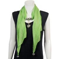 Scarves - Heart Pendant - Chiffon - Green