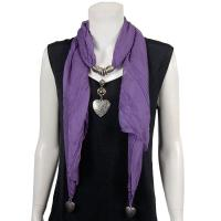 Scarves - Heart Pendant - Chiffon - Purple
