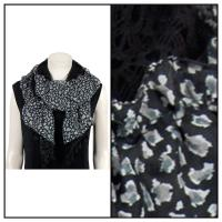 Scarves - Lace Ruffle - Leopard - Black