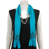 Scarves - Abstract Charms - Jersey Knit - Teal Blue