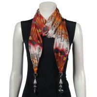 Scarves - Tropical Peacock with Hanging Pendants - Orange-Red