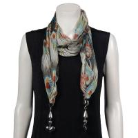 Scarves - Tropical Peacock with Hanging Pendants - Black-Brick Red
