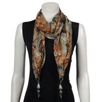 Scarves - Tropical Peacock with Hanging Pendants - Beige-Orange